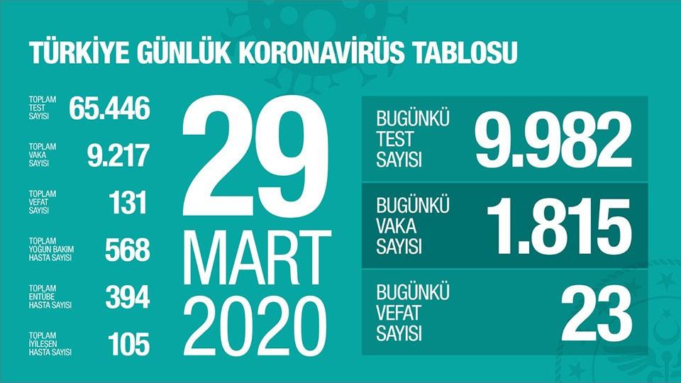 29 Mart 2020 Koronavirüs Sayıları